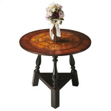 This stunning tabletop features swirling inlays in a field of burl veneer framed by a wide, cross-grain border of cherry and walnut veneers. The base also impresses with its sloping turned legs and triangular stretcher in the Black and Tan finish. Crafted