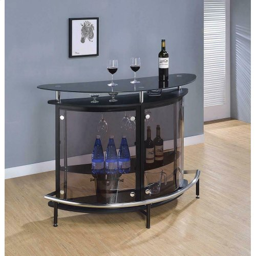 Contemporary Black Bar Unit With Tempered Glass
