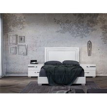 The Wave King High Gloss White Lacquer / Croc Laminate / Stainless Bed