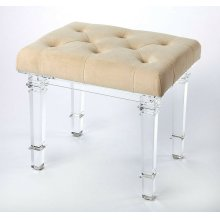 Comfort meets contemporary style that together create a strong focal point and lend a dramatic impression in a room. Combining vintage and glam, this clear acrylic vanity seat is adorned with soft button-tufted velvet fabric for plush comfort. Its tapered