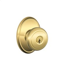 Andover Knob with Wakefield trim Keyed Entry Lock - Bright Brass