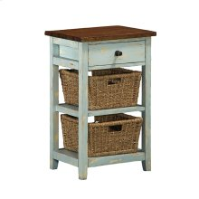 Tuscan Retreat® 2 Basket 1 Drawer Open Side Stand - Sea Blue With Antique Pine Top