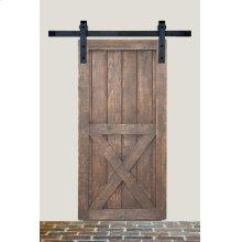 7' Barn Door Flat Track Hardware - Rough Iron Basic Style