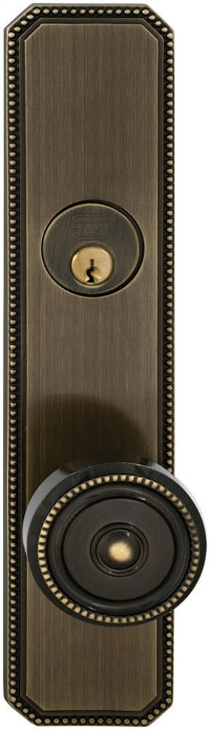 Exterior Traditional Mortise Beaded Entrance Knob Lockset with Plates in (SB Shaded Bronze, Lacquered) Product Image