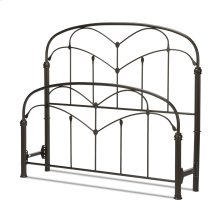 Pomona Metal Headboard and Footboard Bed Panels with Curved Grills and Detailed Posts, Hazelnut Finish, Full