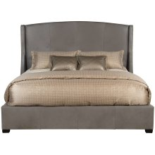 "Queen-Sized Cooper Leather Wing Bed (54"" H) in Espresso"