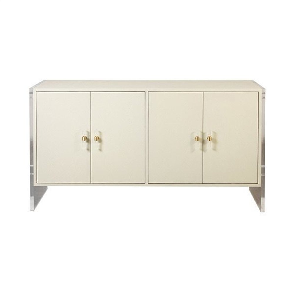 Four Door Cabinet With Acrylic Sides and Hardware In Cream Faux Shagreen