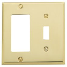 Polished Brass Beveled Edge GFCI / Single Toggle Combo