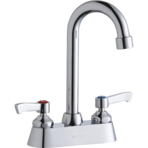 """Elkay 4"""" Centerset with Exposed Deck Faucet with 4"""" Gooseneck Spout 2"""" Lever Handles Chrome Product Image"""