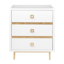 3 Drawer White Lacquer Side Table With Gold Leaf Accents & Base Beveled Mirror Inset Top