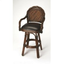 Transform your kitchen or bar space into an island retreat with this attractive barstool. Its high-back design is framed by twisted rattan with a hand-woven rattan back panel and a plush brown leather seat. It boasts a sturdy rattan base and footrest with