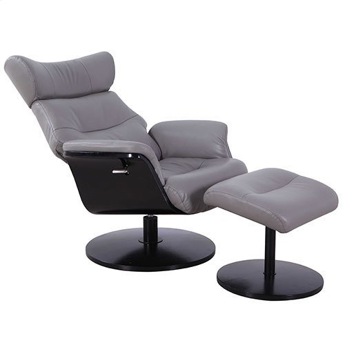 Stockholm Recliner and Ottoman in Steel Breathable Air Leather