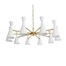 Ten Light Chandelier With Hour Glass Matte White Shades In Antique Brass
