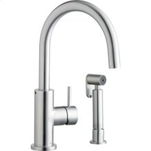 Elkay Allure Single Hole Kitchen Faucet with Lever Handle and Side Spray Satin Stainless Steel