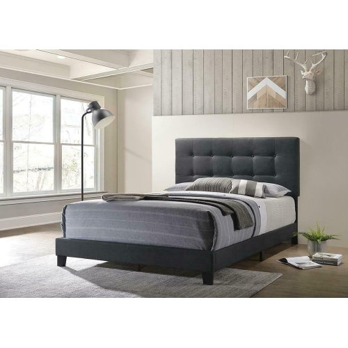 Mapes Charcoal Upholstered Bed Frame