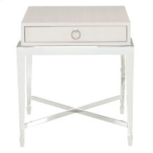 Criteria End Table in Pale Ivory Leather (363)