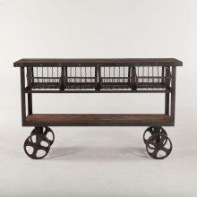 """Industrial Teak Cart Table 60"""""""