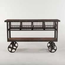 Industrial Teak Cart Table 60""