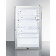 "Commercially Listed 20"" Wide Glass Door All-refrigerator for Freestanding Use, Auto Defrost With A Lock, White Cabinet, and Thin Handle"