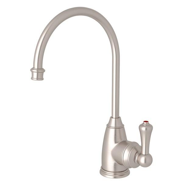 Satin Nickel Perrin & Rowe Georgian Era C-Spout Hot Water Faucet with Traditional Metal Lever