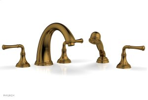 BEADED Deck Tub Set with Hand Shower - Lever Handles 207-48 - French Brass Product Image
