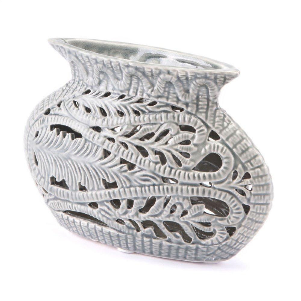 Leaves Short Vase Gray