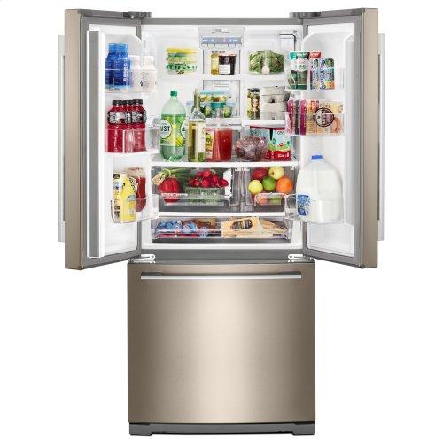 30-inch Wide Contemporary Handle French Door Refrigerator - 20 cu. ft. Fingerprint Resistant Sunset Bronze