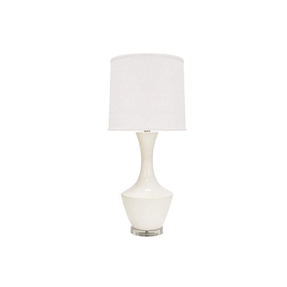 Ceramic Table Lamp With White Linen Shade In White -ul Approved for (1) 60 Watt Bulb- 3 Way Compatible