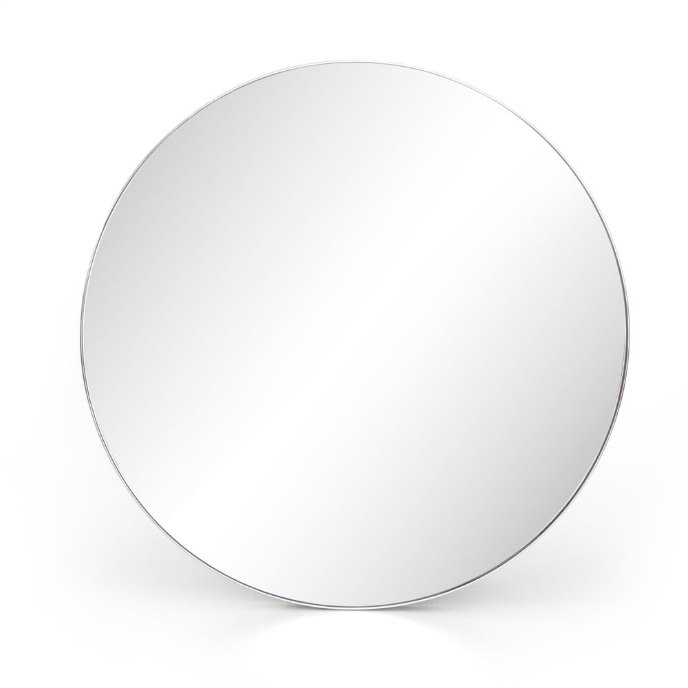 Shiny Steel Finish Bellvue Round Mirror