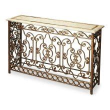 This stunning console table will be the brightest spot in your room. Its white fossil stone veneer top has a snake skin fossil stone inset border. Its intricate hand forged wrought iron base provides a beautiful counterpoint in an antique gold finish.