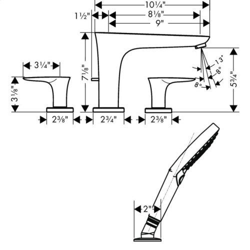 Chrome 4-Hole Roman Tub Set Trim with 1.75 GPM Handshower