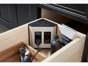 Black In-drawer Electrical Outlets for Vanities Product Image