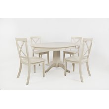 Everyday Classics Round To Oval Dining Table With 4 Ladder Back Chairs- Linen