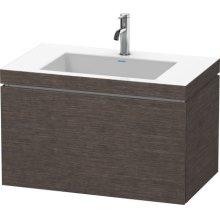 Furniture Washbasin C-bonded With Vanity Wall-mounted, Brushed Dark Oak (real Wood Veneer)