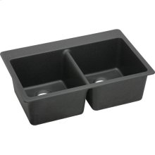 "Elkay Quartz Classic 33"" x 22"" x 9-1/2"", Equal Double Bowl Drop-in Sink, Black"