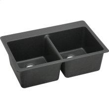 "Elkay Quartz Classic 33"" x 22"" x 9-1/2"", Equal Double Bowl Drop-in Sink, Black"