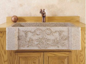Versailles Farmhouse Sink Beige Granite Product Image