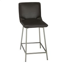 Pierre Swivel Seat Bar Stool with Stainless Steel Finished Metal Frame and Cappuccino Faux Leather Upholstery, 30-Inch Seat Height