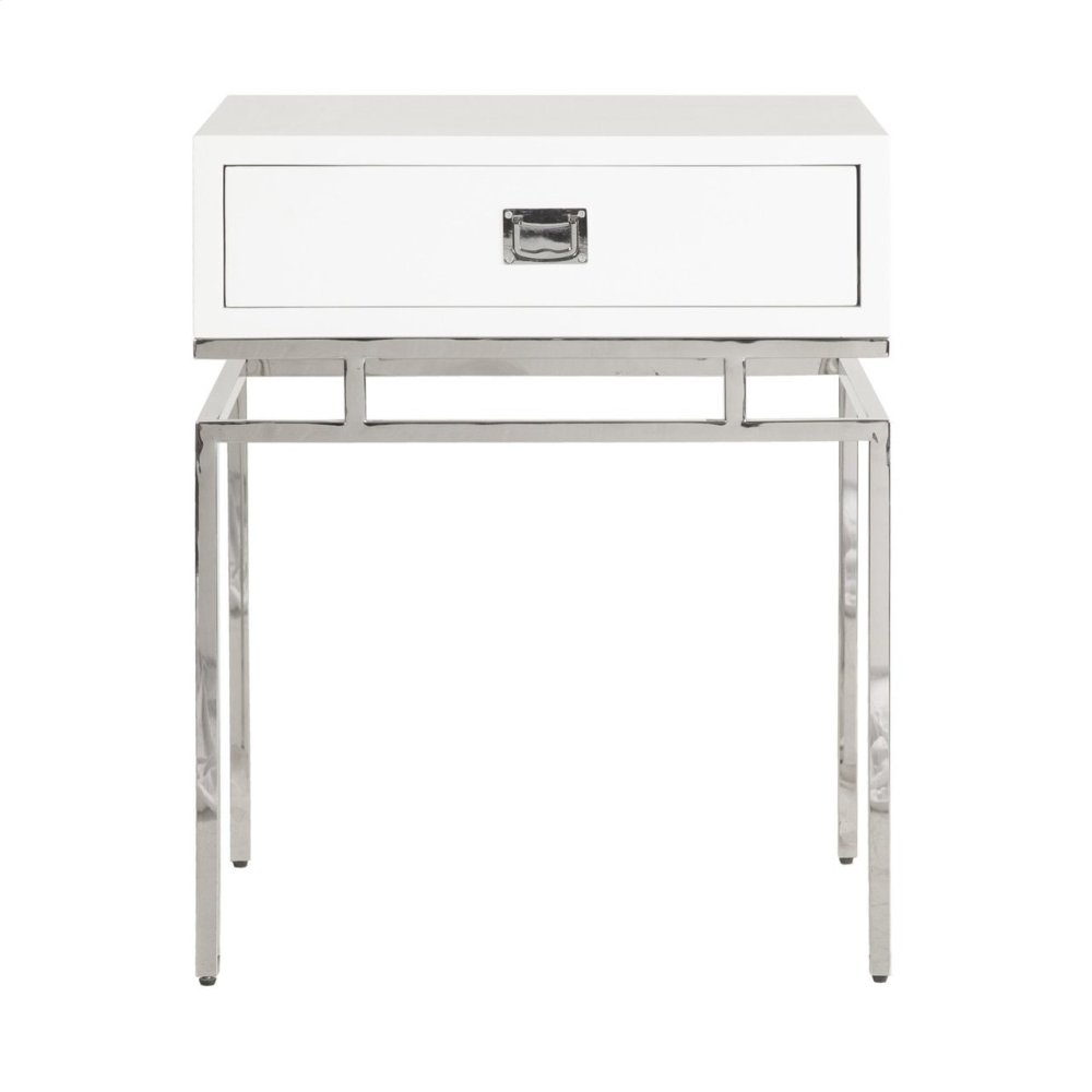 White Lacquer 1 Drawer Side Table With Nickel Campaign Hardware and Base.