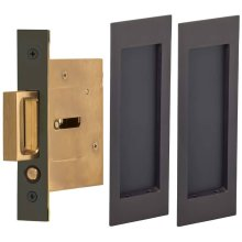 Passage Pocket Door Lock with Modern Rectangular Trim featuring Mortise Edge Pull in (US10B Black, Oil-Rubbed, Lacquered)