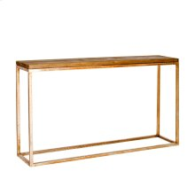 Distressed Wood Top Console With Gold Leafed Hammered Iron Base.