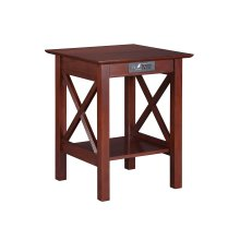 Lexi Printer Stand with Charging Station Walnut