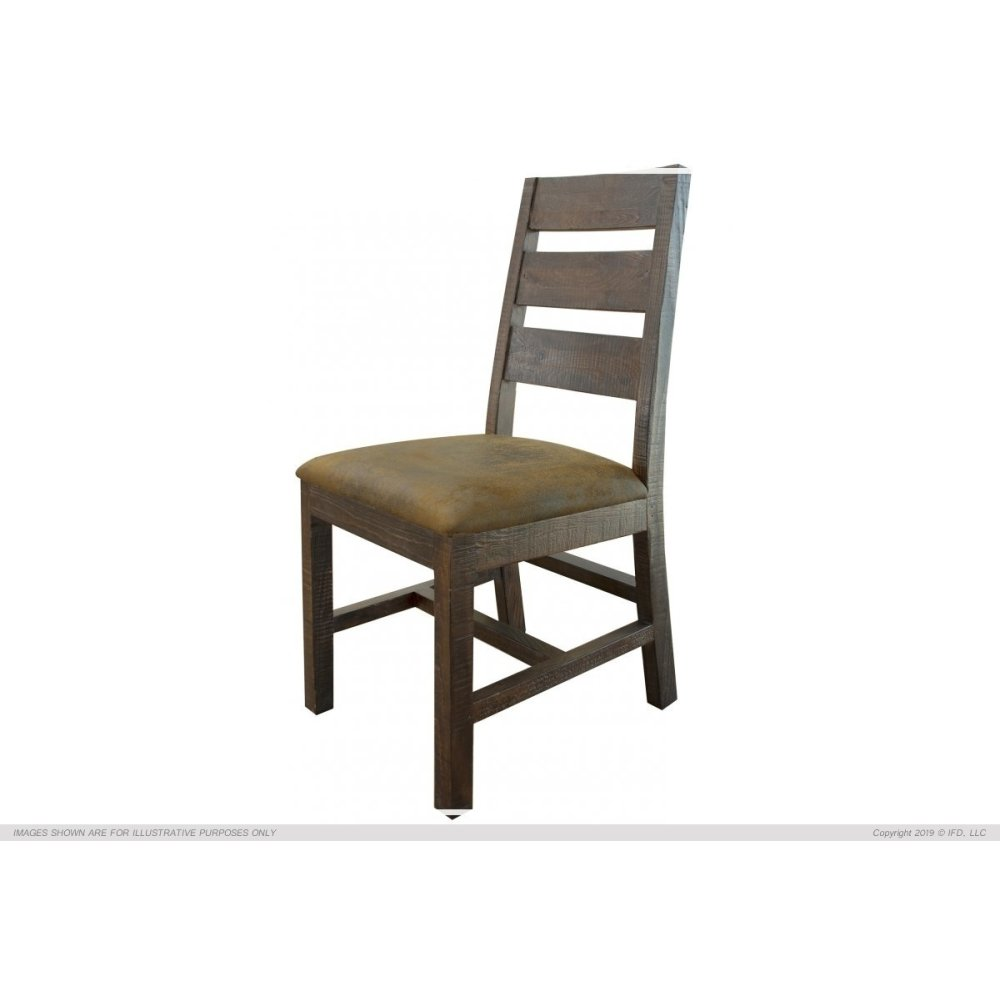 Chair w/Ladder back, Faux leather seat, Solid wood -Mezcal finish