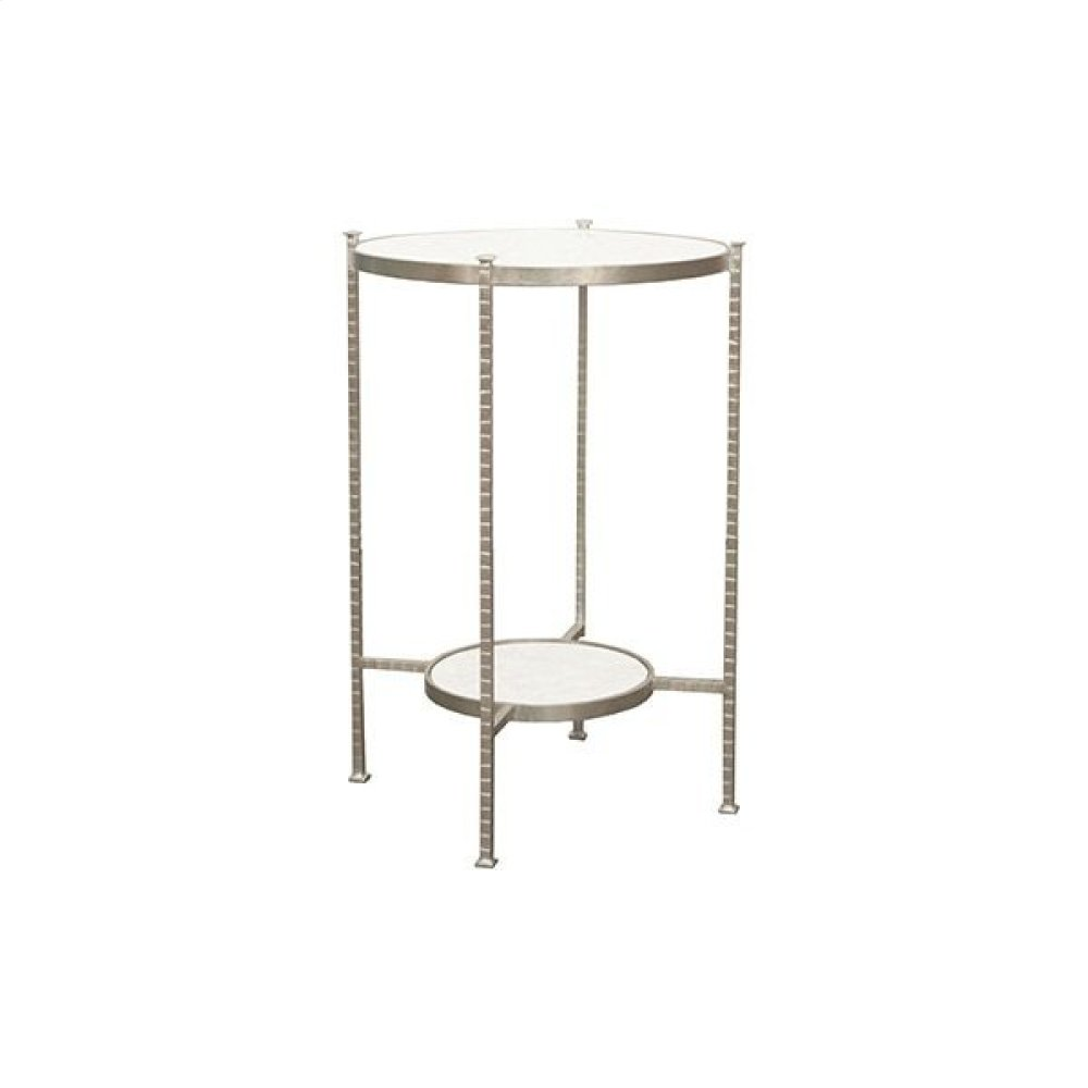 Round Two Tier Hammered Iron Table With White Carrara Marble Top In Silver Leaf