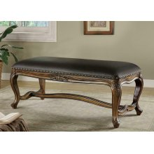 Black Faux Leather Accent Bench
