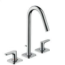 Chrome 3-hole basin mixer 160 with lever handles, escutcheons and pop-up waste set