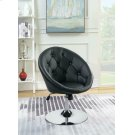 Contemporary Black Faux Leather Swivel Accent Chair Product Image