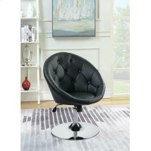 Contemporary Black Faux Leather Swivel Accent Chair