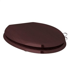 Polished Chrome Elongated High Gloss Mahogany Easy Close Toilet Seat With Installed Sanitary Handles Product Image
