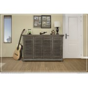 "67"" Console w/4 push doors, Mango wood, gray finish Product Image"
